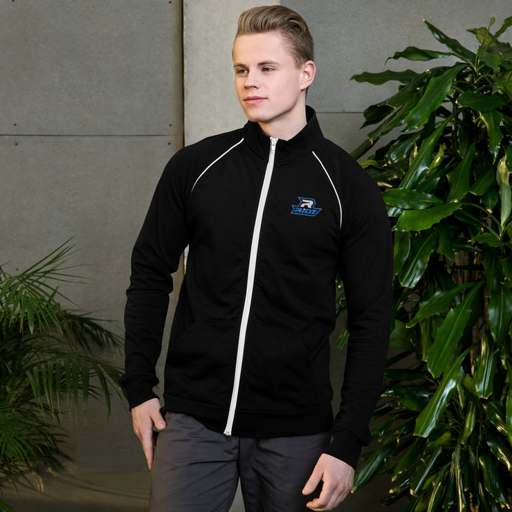 Black Piped Fleece Jacket with Embroidered Blue/White Riot Logo