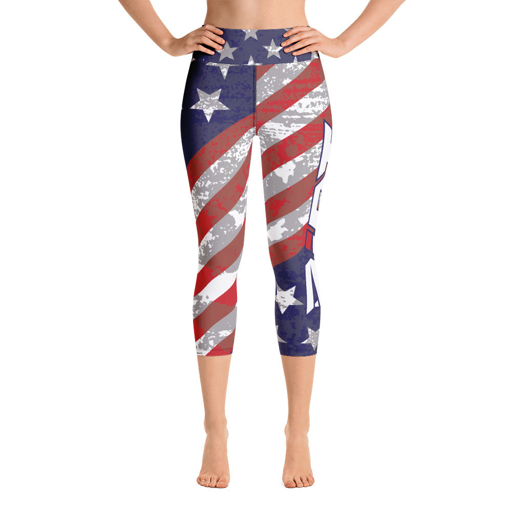 American Stars Stripes Full Dye Yoga Capri Leggings