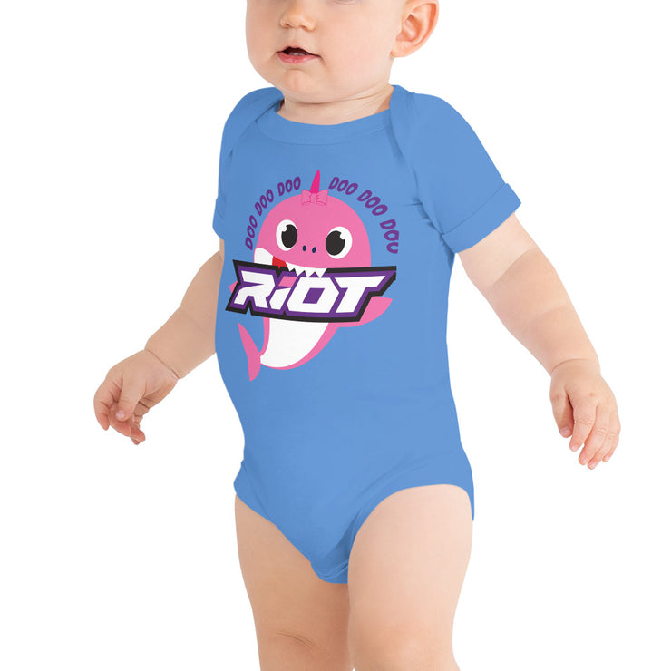 Pink Baby Shark Riot Baby Short Sleeve Onesie - Pick your shirt color
