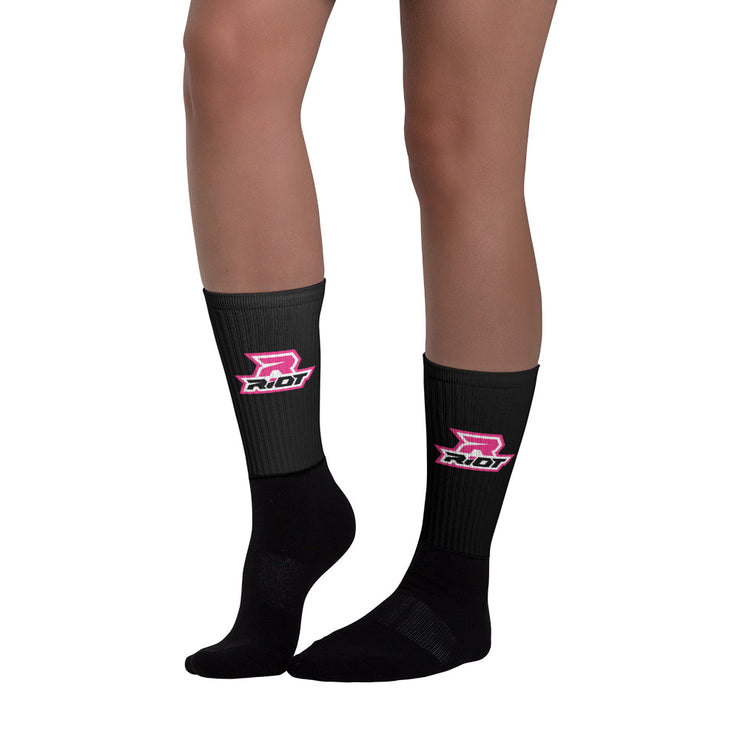 Black/Hot Pink Full Dye Riot Socks