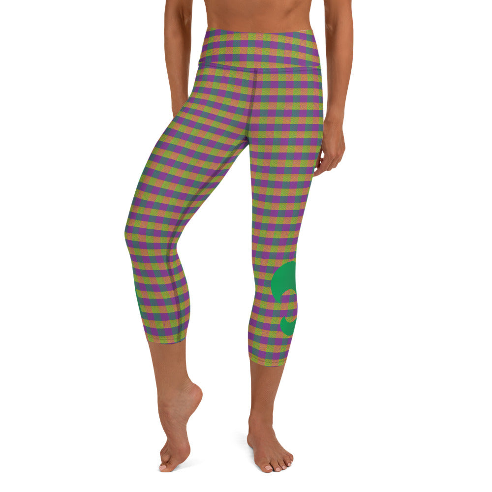 Mardi Gras Plaid Riot Full Dye Yoga Capri Leggings