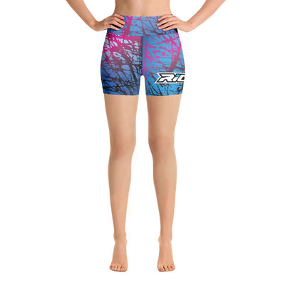 Pink/Blue Chaos Full Dye Yoga Shorts