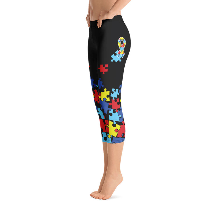 Autism Awareness Riot Reg Waistband Full Dye Capri Leggings