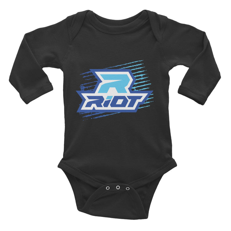 Blue Grunge Riot Baby Long Sleeve Onesie - Pick your shirt color