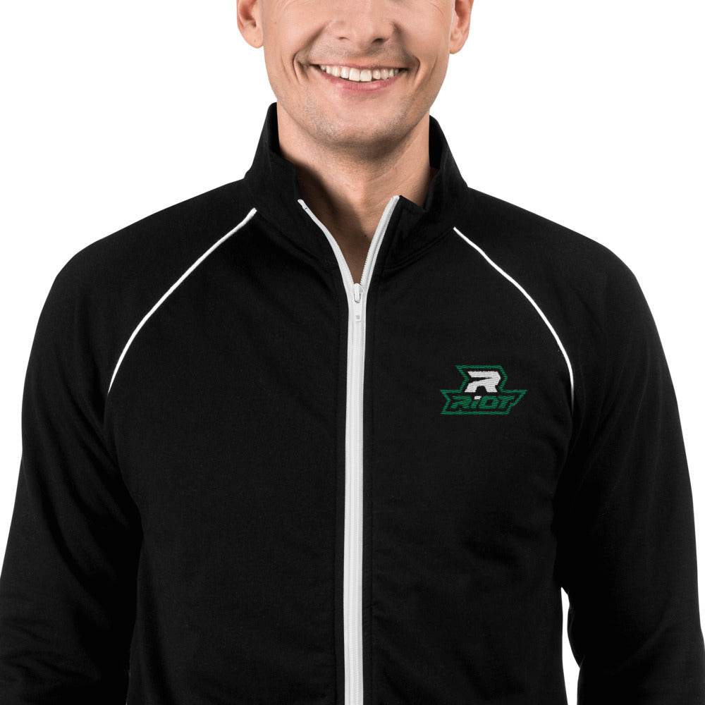 Black Piped Fleece Jacket with Embroidered Green/White Riot Logo