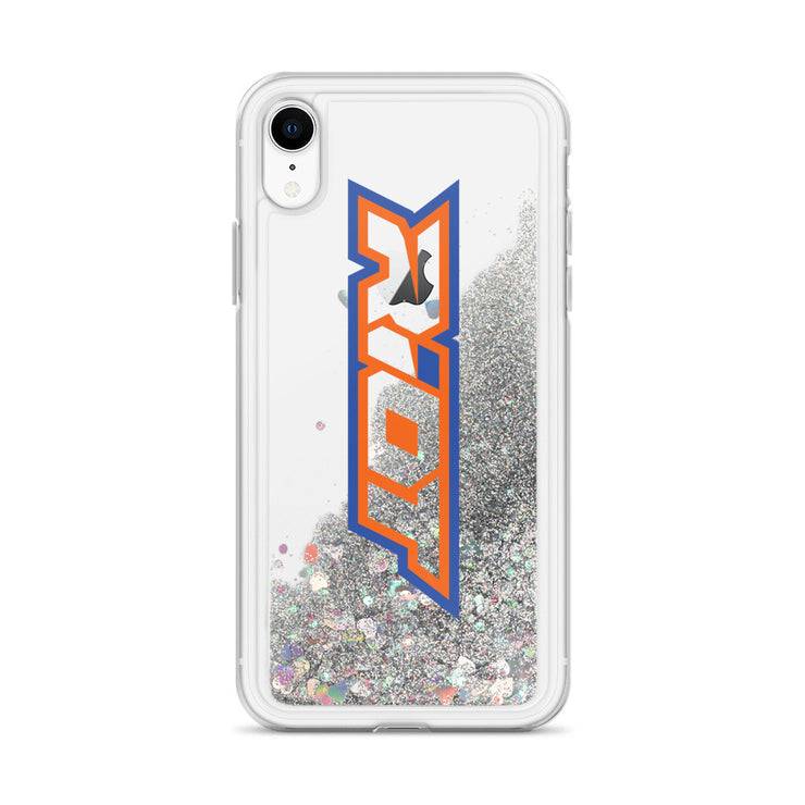 Orange/Blue/Clear Riot Logo Liquid Glitter Phone Case