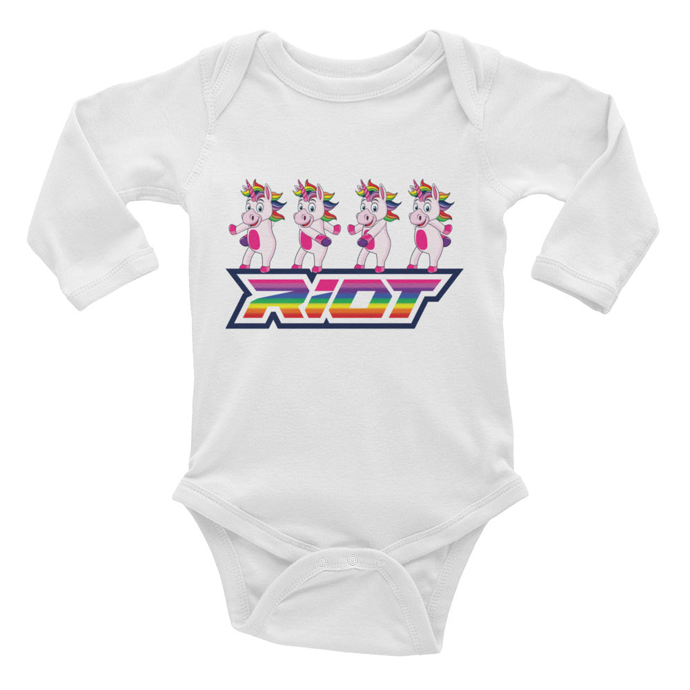 Flossing Unicorn Riot Baby Long Sleeve Onsie - Pick your shirt color