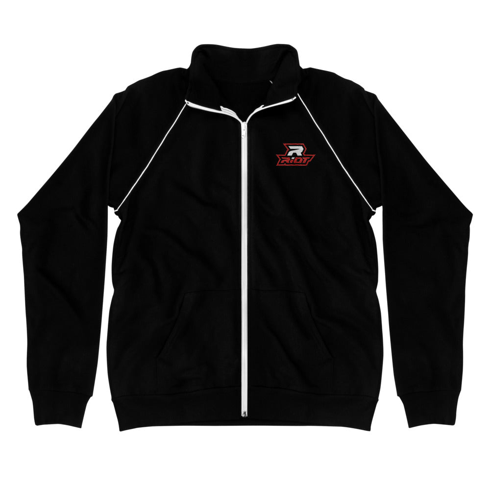 Black Piped Fleece Jacket with Embroidered Red/White Riot Logo