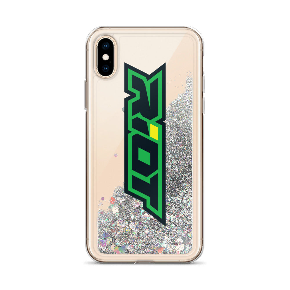 Green/Yellow Riot Logo Liquid Glitter Phone Case