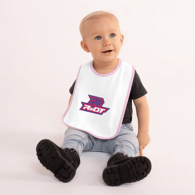 Purple/Pink Embroidered Riot Baby Bib