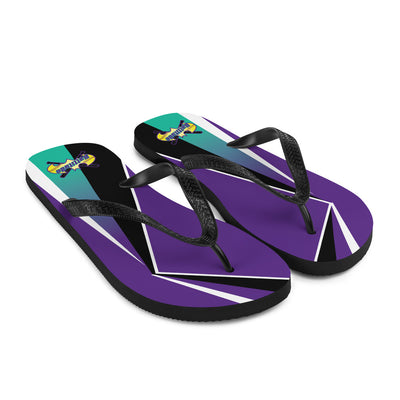 Purple Flip-Flops with Battitude Logo