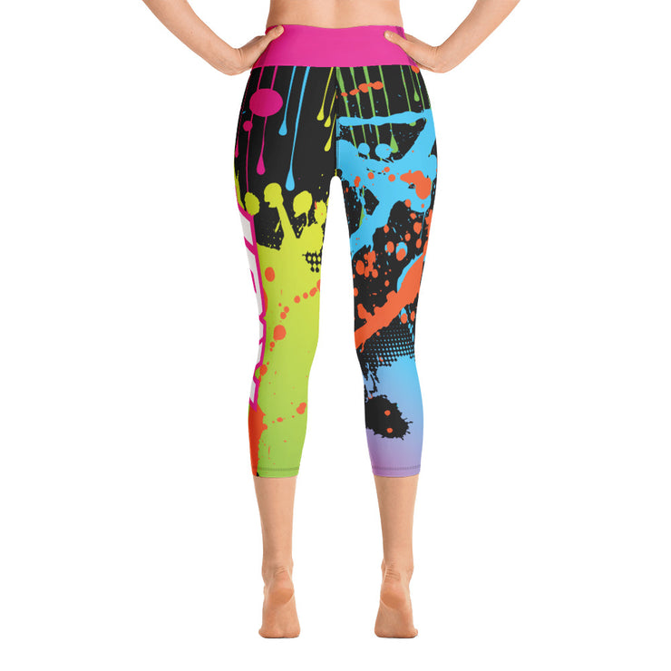 Paint Splatter Full Dye Yoga Capri Leggings