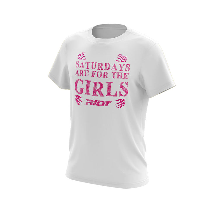 "White Shirt with Riot ""Girls"" Mothers Day Logo - Custom Back"