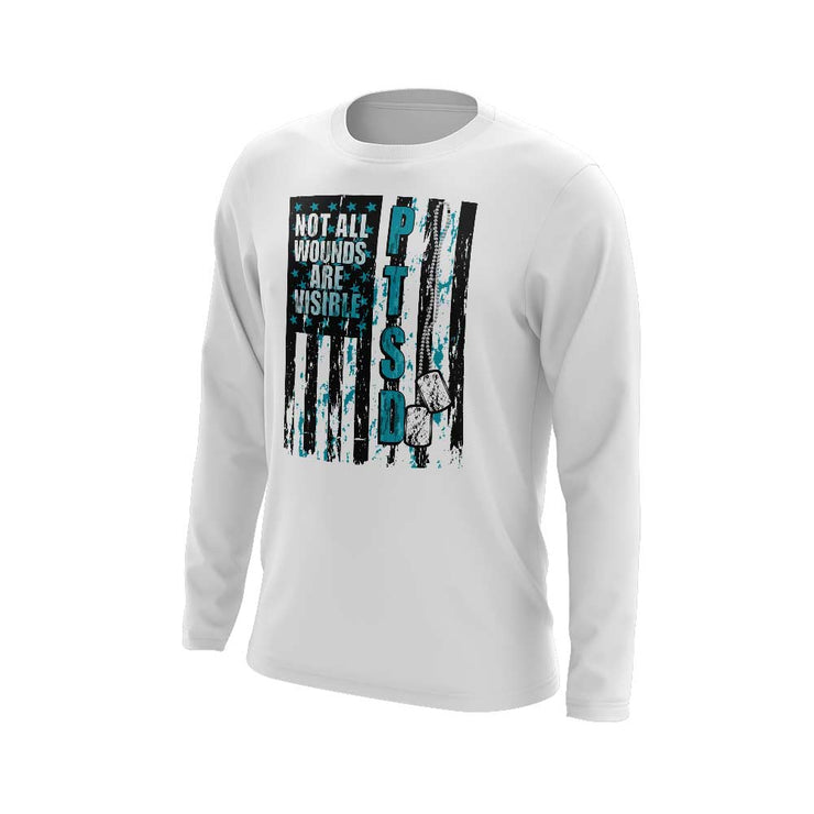 White Long Sleeve Shirt with PTSD Awareness Riot Logo (Customizable Back)