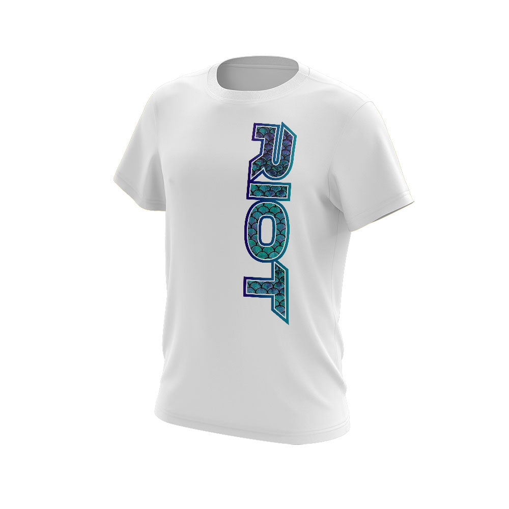 White Short Sleeve Shirt with Riot Pure Mermaid Scale Logo