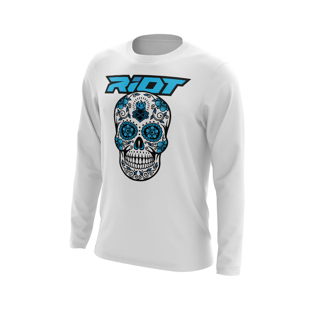 White Shirt with Blue Sugar Skull Riot Logo - Choose your shirt type