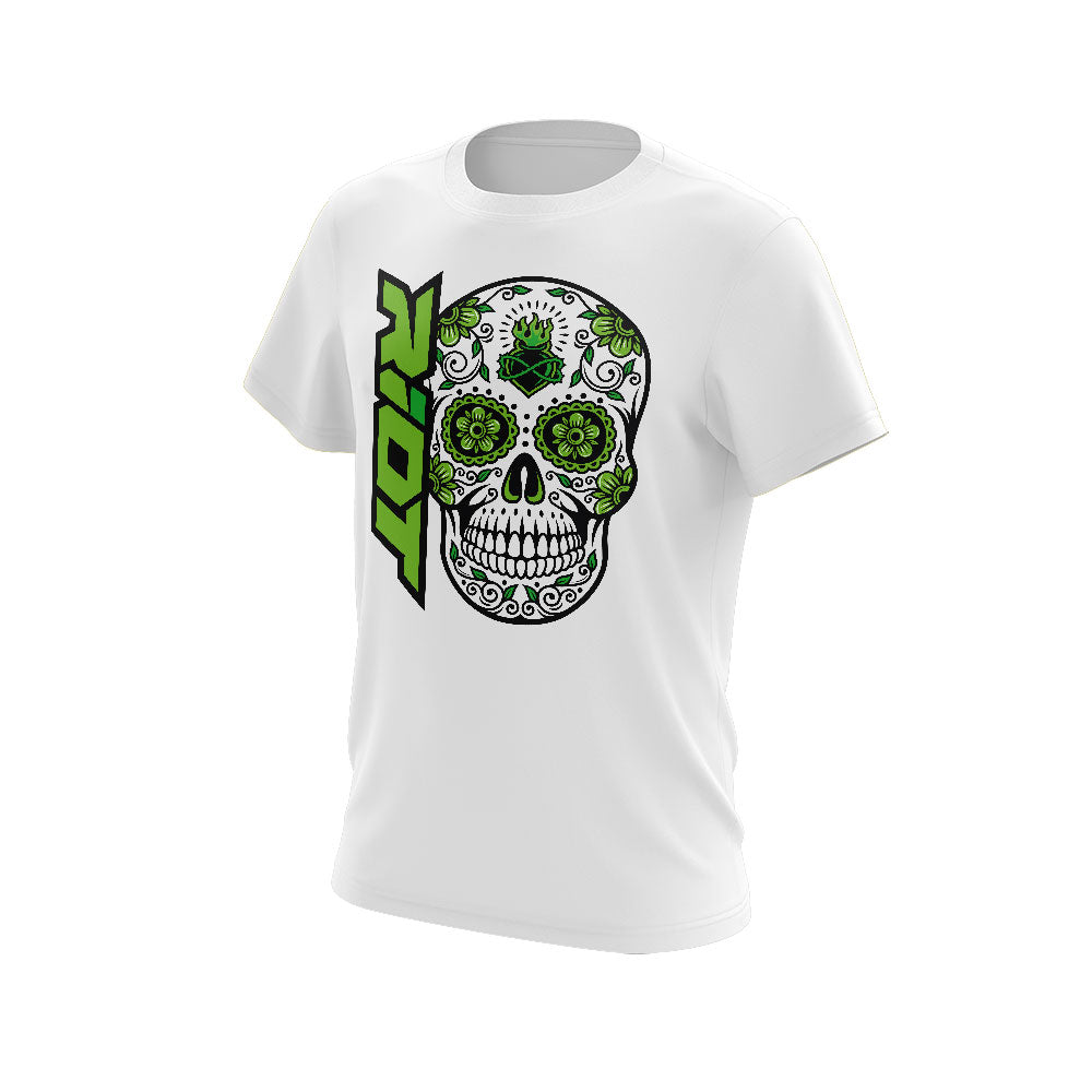 White Shirt with Green Sugar Skull Riot Logo - Choose your shirt type