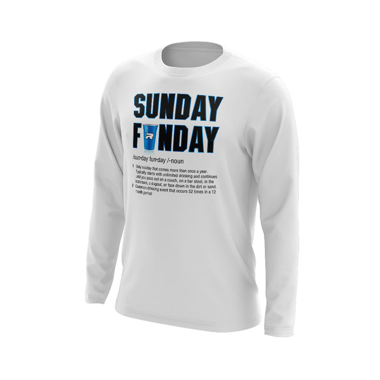 **NEW** White Long Sleeve Shirt of the Week with Sunday Funday Riot Logo