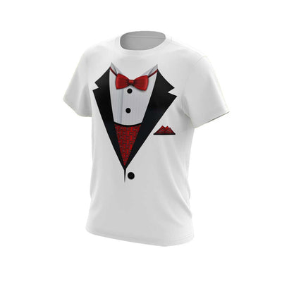 **NEW** White Short Sleeve Shirt with Tuxedo Riot Logo