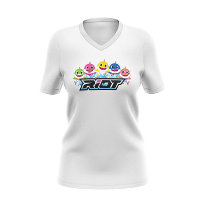 White Womens V-Neck with Baby Shark Family Riot Logo