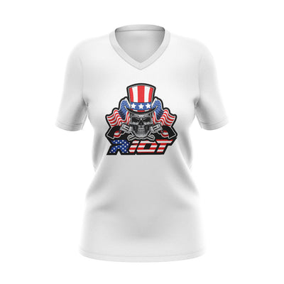 White Womens V-Neck with Skull & Guns Riot Logo
