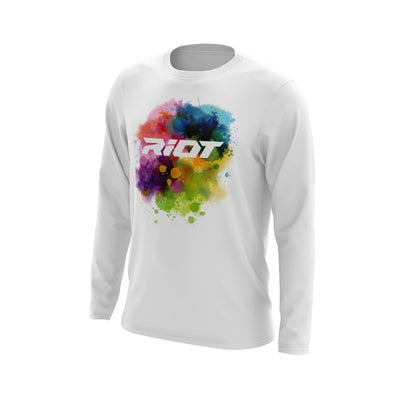 White Long Sleeve Shirt with Watercolor Riot Logo