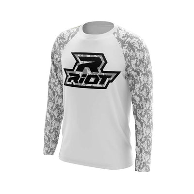 White Digi Camo Long Sleeve Shirt with Black Digi Riot Logo