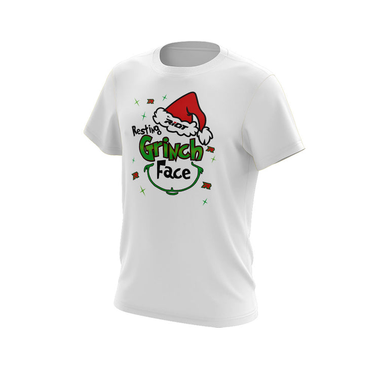 White Short Sleeve with Riot Resting Grinch Face Logo