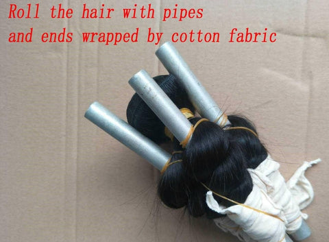 roll the hair with pipes pic