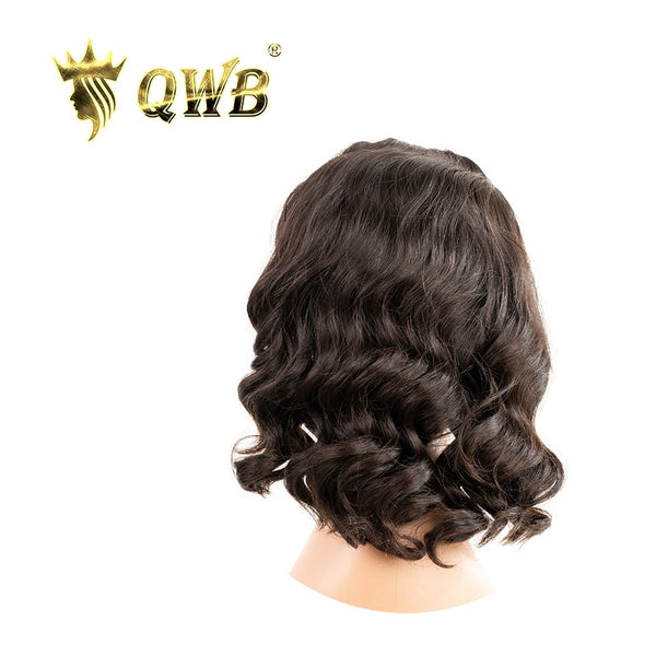 QWB Free Shipping Brazilian Virgin Hair Loose Wave Headband Bob Wig