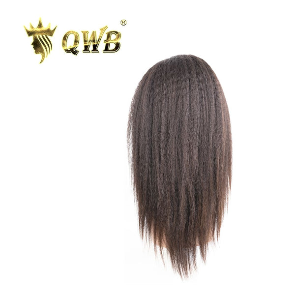 QWB Free Shipping Brazilian Human Hair Kinky Straight Headband Glueless Wig