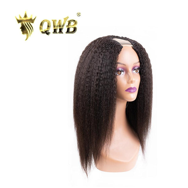 QWB Free Shipping Kinky Straight U Part Wig Density 200%~250%