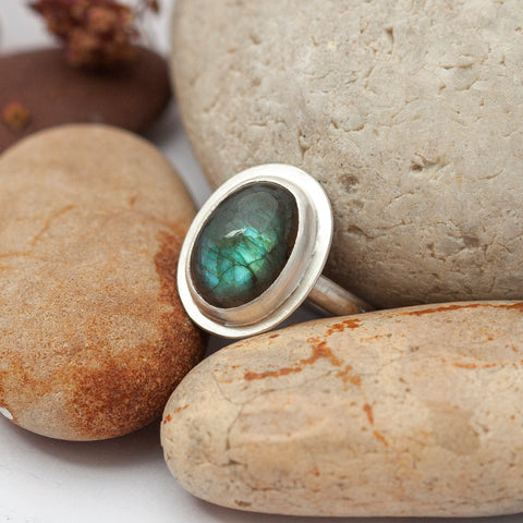 choose your stone ring with vegetal imprint