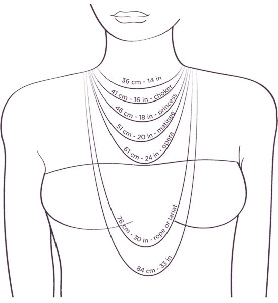 Necklace lengths cm - inches