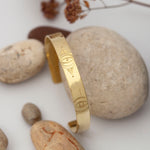 Load image into Gallery viewer, Ready to ship (size 6cm) : Wide brass cuff bracelet with ethnic patterns