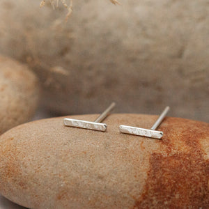 Ear climber in silver : a simple line earring, textured or net. Sold individually : select 2 for a pair.   (made to order)