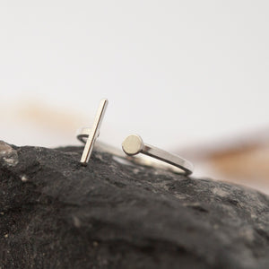 adjustable silver ring ~ line and dot