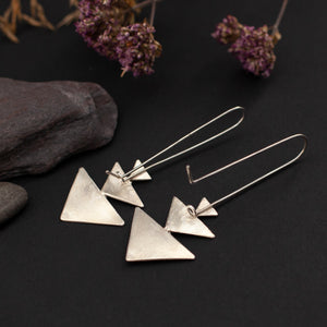 Triple triangle earrings in silver on long ear wire   (made to order)