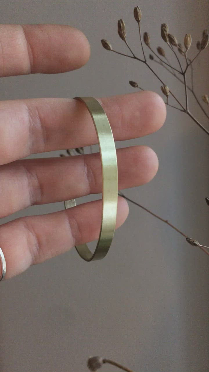 Flat brass cuff with brushed finish     (Made to order)