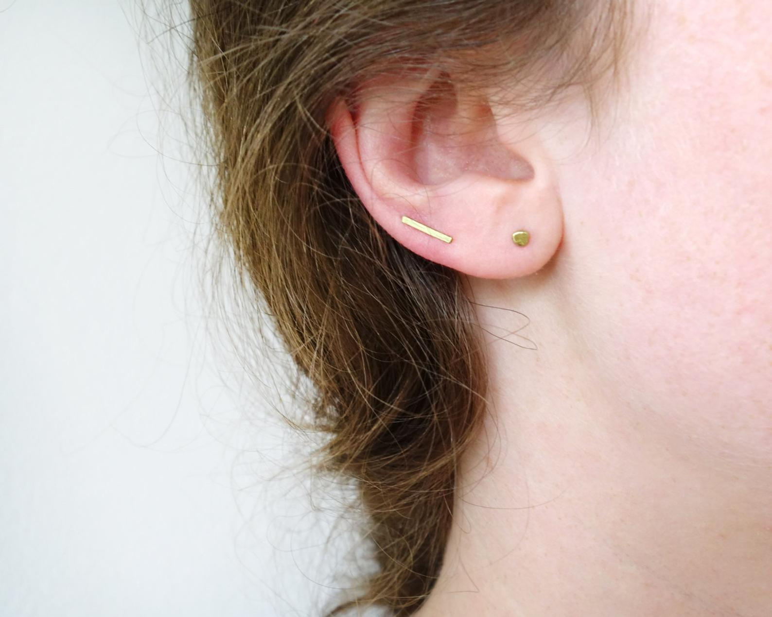 Ear climber in brass with silver ear post : simple line earring, textured or net. Sold individually : select 2 for a pair.   (made to order)