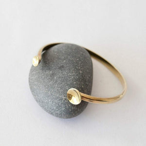 Adjustable cuff bracelet in brass with 2 bowls   (Made to order)