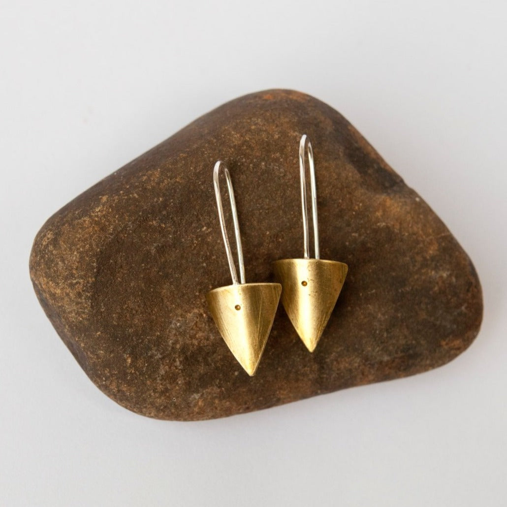 Short dangling triangle earrings in brass and silver     (made to order)