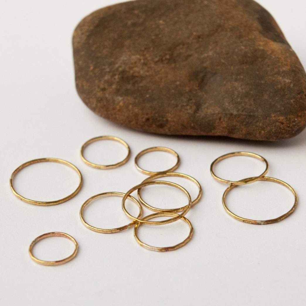 Ready to ship, size 53 // 6.5 & 54 // 7 : Thin hammered ring in brass ~ perfect as stacking or knuckle ring