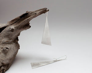 Ready-to-ship : Extra long silver earrings ~ triangle