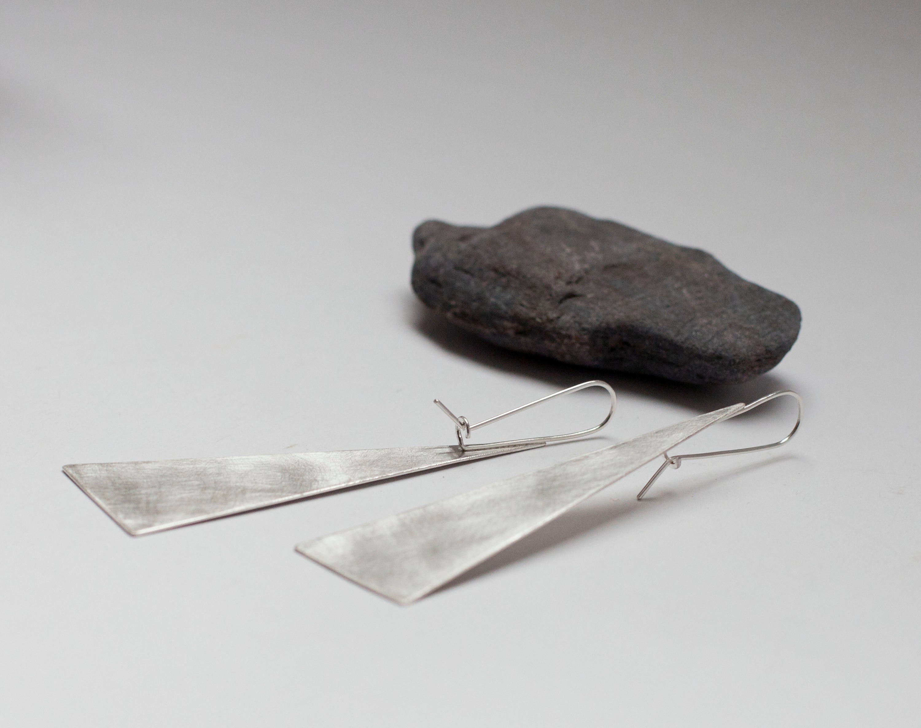 Extra long silver earrings ~ triangle