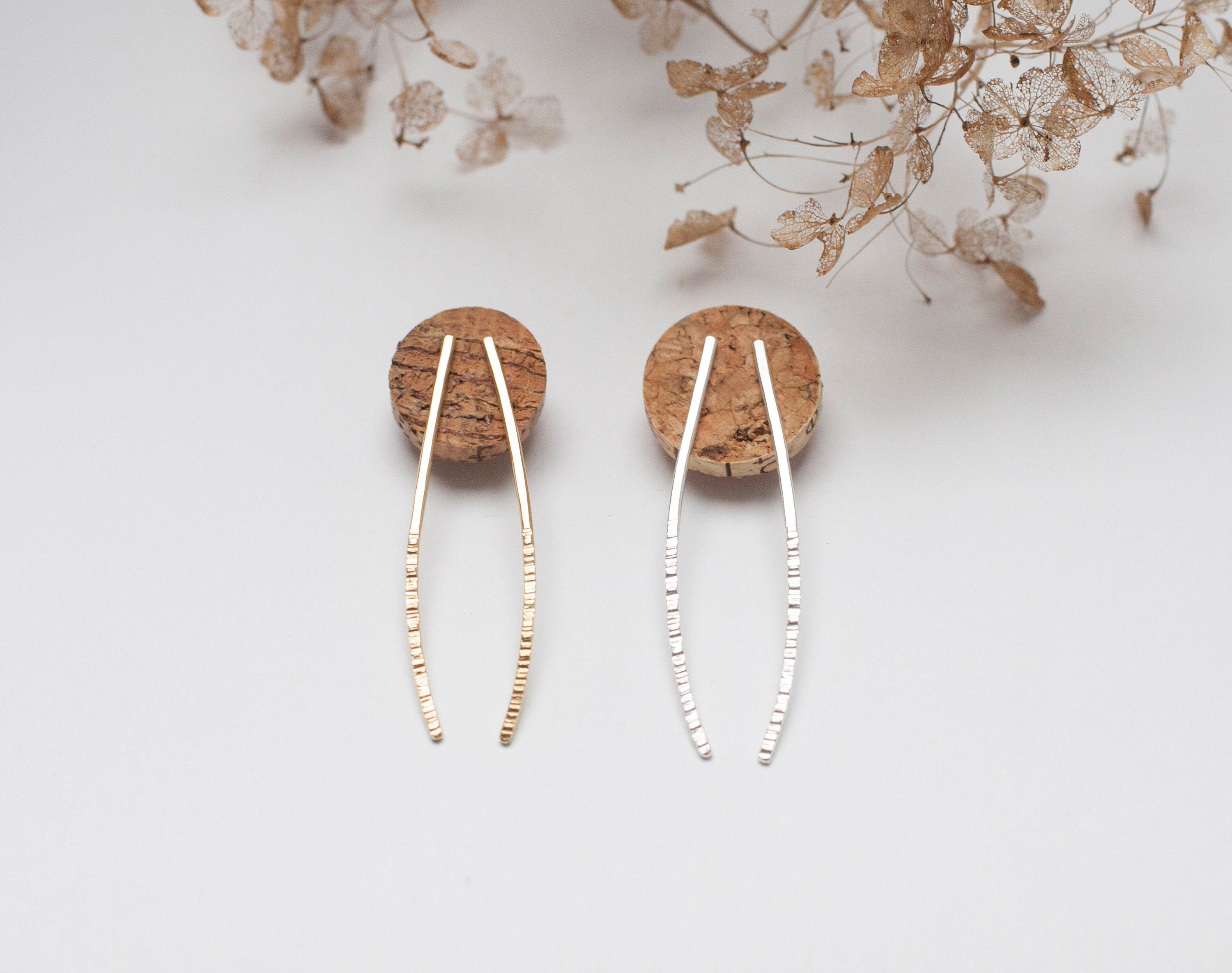 Long curved earrings in brass with hammered sparks ~ silver ear post       (made to order)