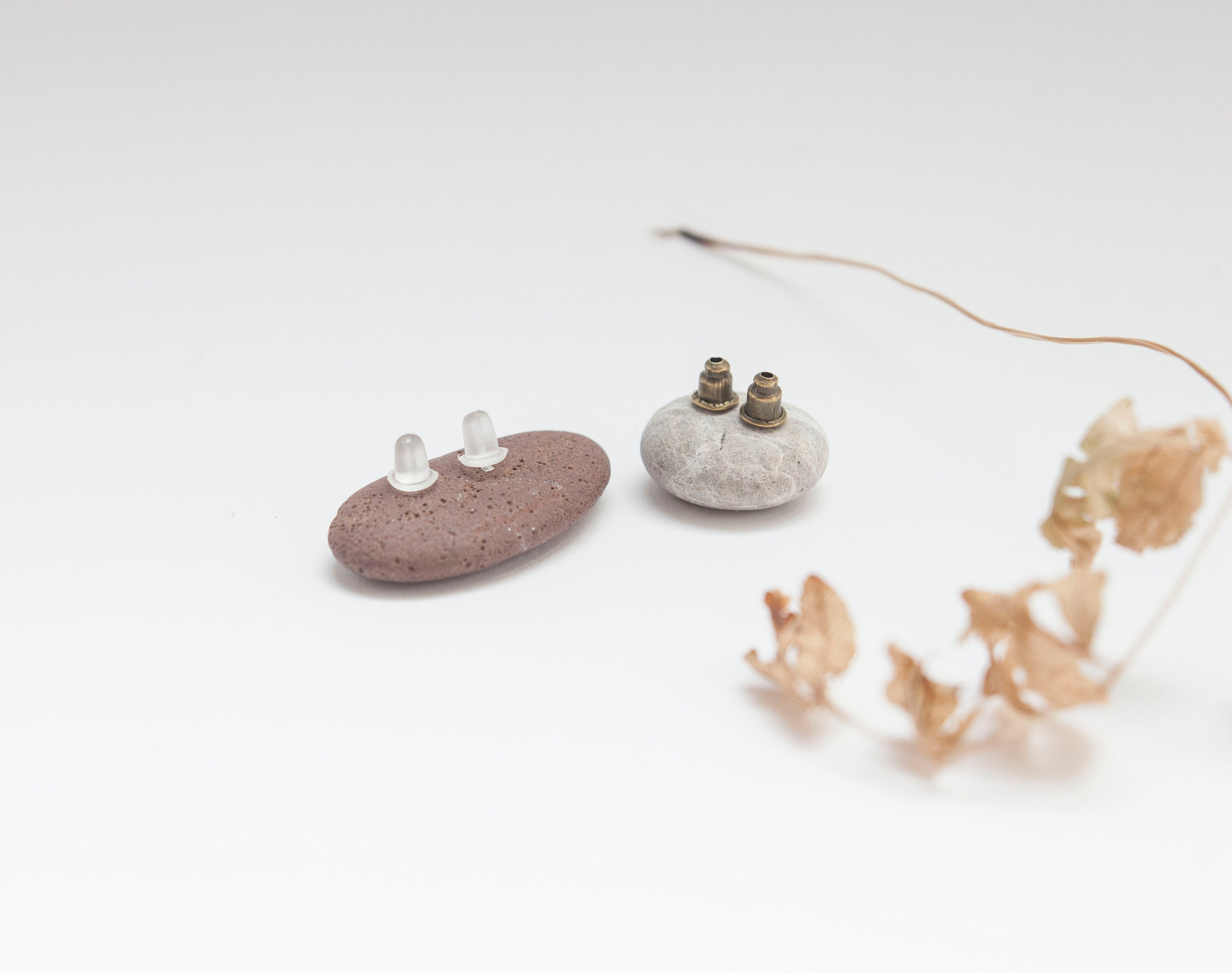 Brass earrings with sterling silver ear post