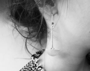 Long dangling ancre earrings in brass and silver     (made to order)