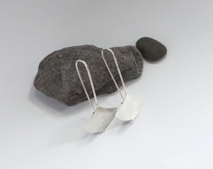 Long ginkgo earrings in silver      (made to order)