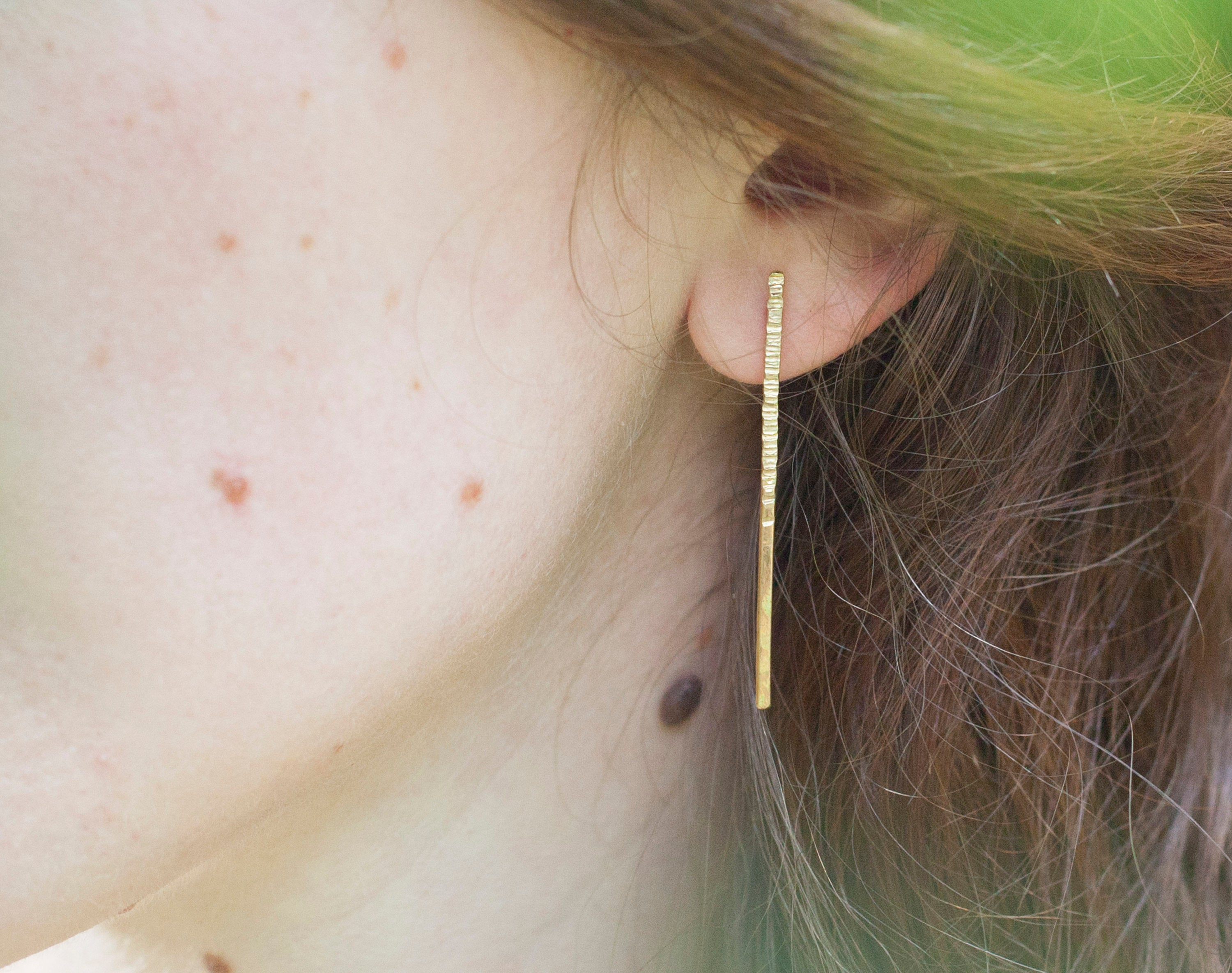 Brass asymmetrical earrings with hammered sparks         (made to order)